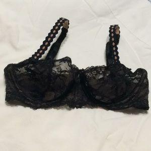 34B Felina black tan lace bra